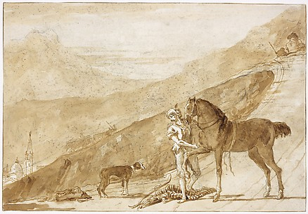 A Horse Attended by an Oriental Groom on a Country Road