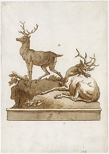 Two Stags, One Standing and One Lying, on a Grassy Knoll (with a Base)