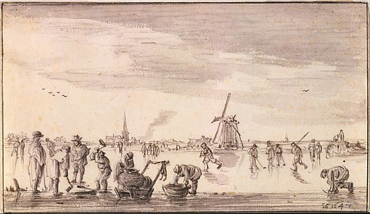 Winter Landscape with Skaters and Fishermen