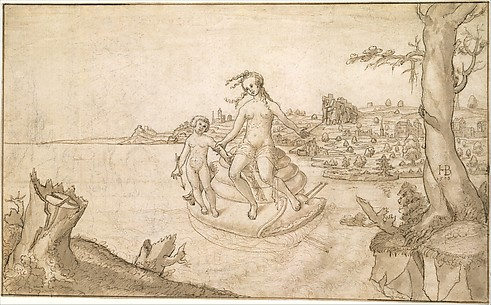 Venus and Cupid on a Snail