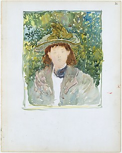 36r. A woman with red hair wearing a green plumed hat; 36v. Blank.