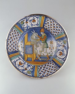 Dish (piatto): Man Washing the Mouth of an Ass