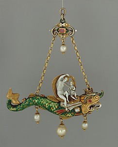 Pendant with Venus and Cupid on a dolphin