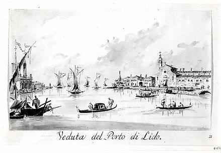 The Porto di Lido, with the Fortezza Sant'Andrea on the Left