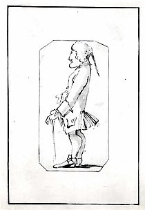 Caricature of a Man Carrying a Stick, Standing in Profile to the Left
