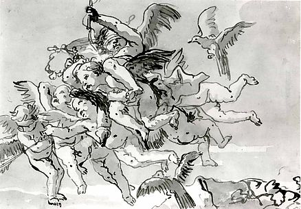 Cupid Blindfolded, Carried Through the Sky by Seven Winged Putti