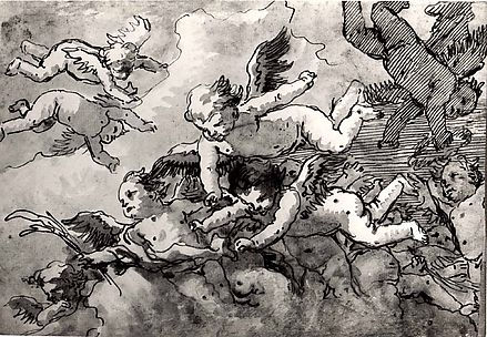 A Flock of Winged Cherubs in the Sky, One Holding a Martyr's Palm