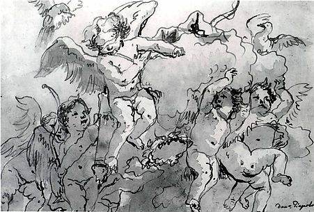 Cupid Blindfolded in the Clouds, with Five Attendant Putti