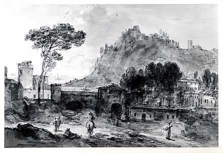 Classical Landscape: A Town and a Mountain by the Coast