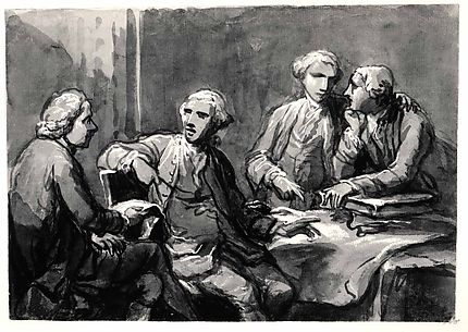 Four Connoisseurs Seated at a Table