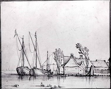 Barges Moored by Cottages