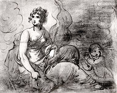 Study of an Allegorical Female Figure with an Attendant Putto