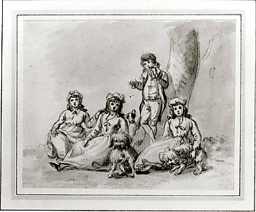 A Group of Four Children, with Dogs
