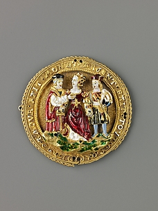 Hat Ornament: Woman Choosing Between Youth and Old Age