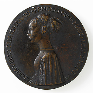 Medal:  Bust of Cecilia Gonzaga (obverse); Innocence and a Unicorn in Moonlit Landscape (reverse)