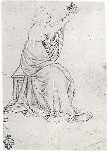 Seated Female Figure with Upraised Arms, Facing Right