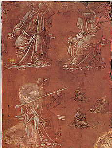 Three Allegorical Figures and Studies of a Seated Man