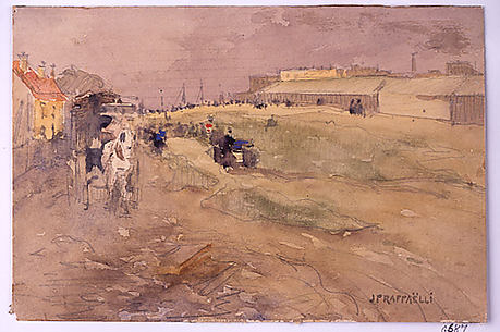 Suburban Landscape (Scene with Horse and Carriage)