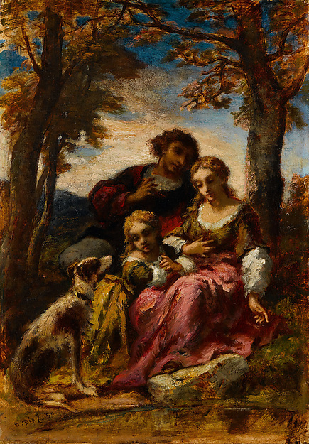 Figures and a Dog in a Landscape