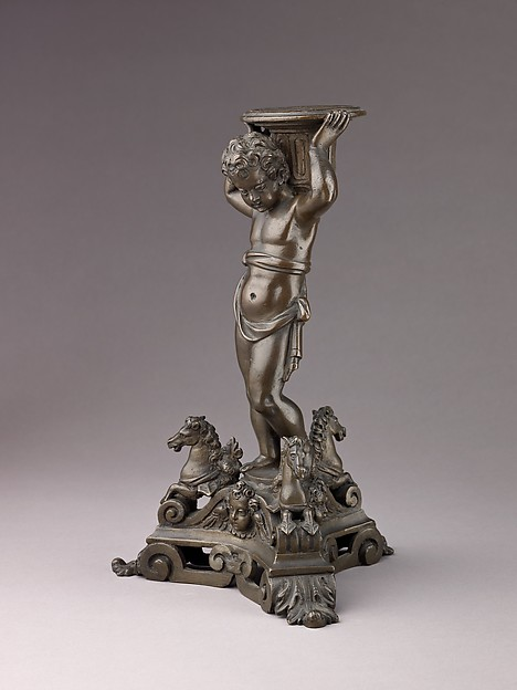 Candlestick in the form of a Putto (see also 1975.1.1374, .1376, .1377)