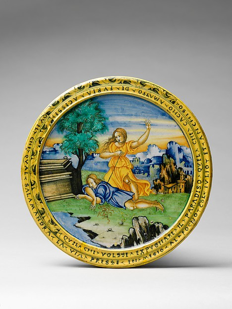 Broth bowl and cover (scodella and tagliere) from an accouchement set; Aeneas leaving Troy with his father and son (inside bowl); Pyramis and Thisbe (on cover)