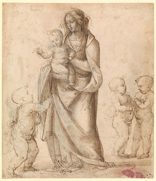 Madonna and Child with the Infant Saint John the Baptist and Two Putti (recto); Madonna and Child with the Infant Saint John the Baptist and a Putto (verso)