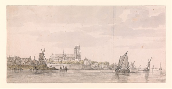 View of the Groote Kerk in Dordrecht from the River Maas