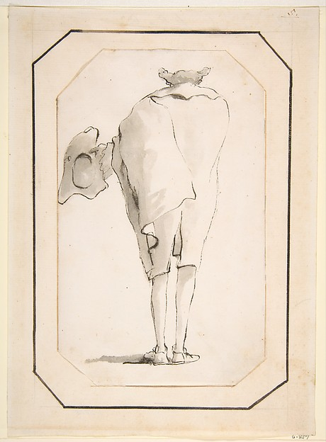 Caricature of a Man Holding a Tricorne, Seen from Behind