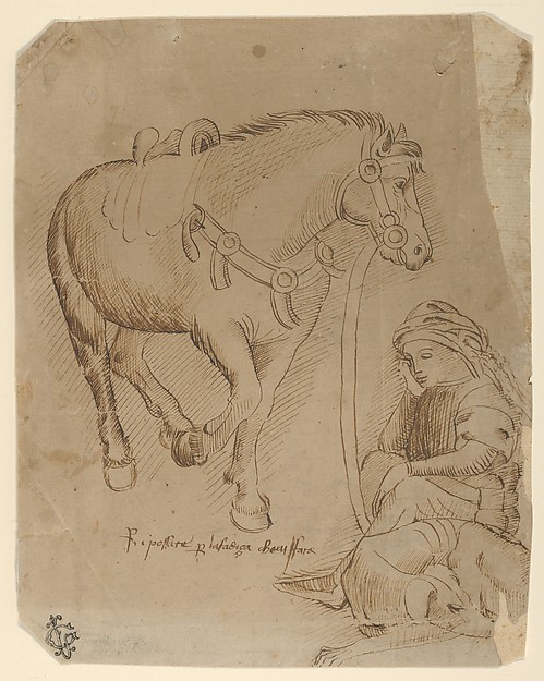 A Man Asleep Alongside a Dog and a Horse