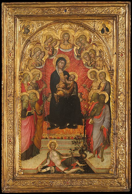 Madonna and Child Enthroned with Saint John the Evangelist, Saint Peter, Saint Agnes, Saint Catherine of Alexandria, Saint Lucy, an Unidentified Female Saint, Saint Paul, and Saint John the Baptist, with Eve and the Serpent; the Annunciation