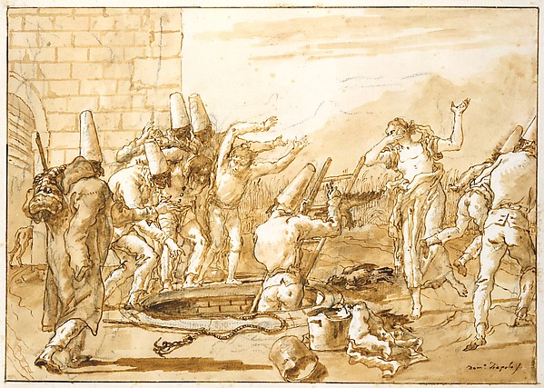Punchinello Retrieving Dead Fowls from a Well