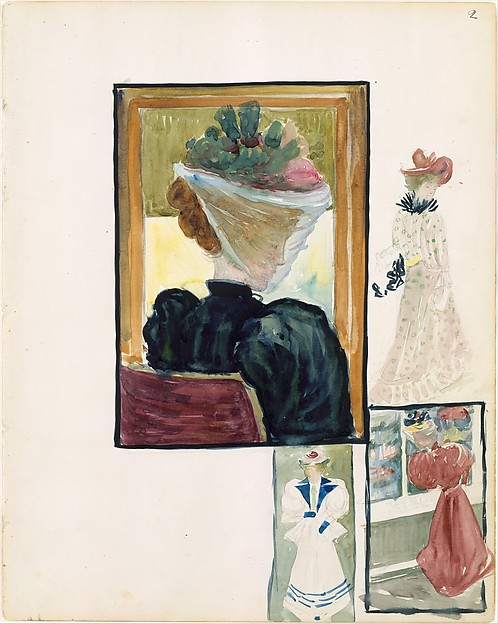 Large Boston Public Garden Sketchbook: Four vignettes of fashionably dressed women
