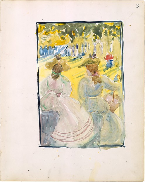 3r. Two women sitting in a park; 3v. Women at the shore
