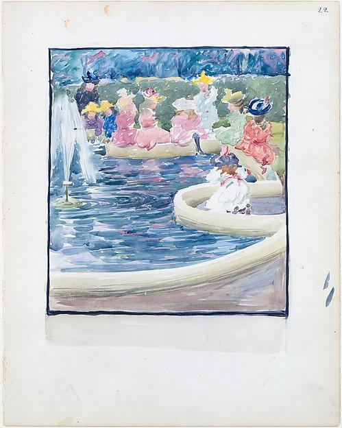 Large Boston Public Garden Sketchbook: A  fountain in the Public Garden