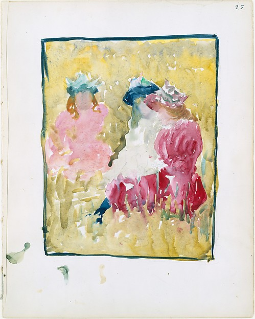 25r. Three girls sitting on the grass; 25v. A reclining woman reading a book