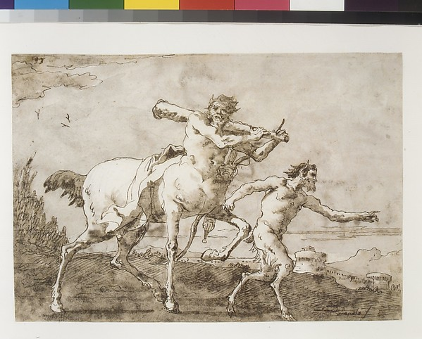 Satyr Leading a Centaur, Who Carries a Club, Bow and Quiver, Outside the Walls of a City