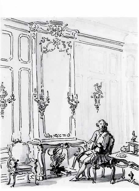 A Venetian Interior, with a Young Man Seated by the Fire