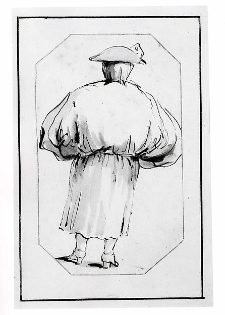 Caricature of a Person in a Voluminous Gown, Seen from Behind