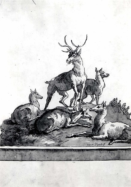 A Stag and Four Hinds on a Grassy Knoll (with Base)