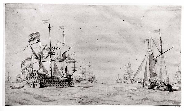 A Large Dutch Ship with a Fleet at Sea and Two Small Vessels