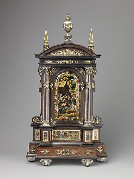 Tabernacle House Altar with the Adoration of the Shepherds, the Adoration of the Magi, and the Annunciation.