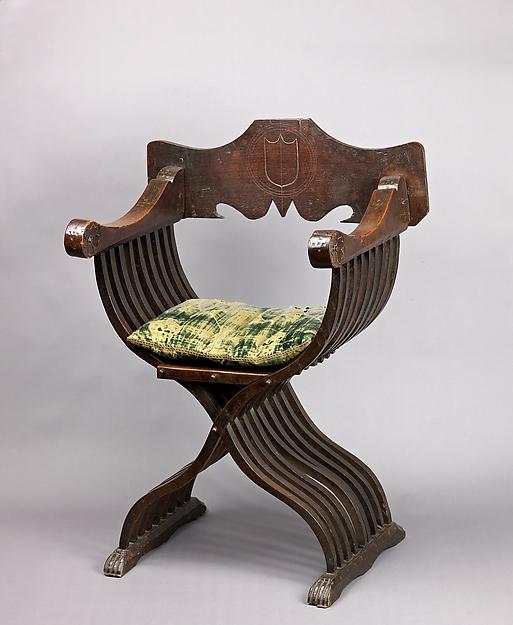 Folding armchair sedia a savonarola type italian the metropolitan museum of art - Savonarola sedia ...