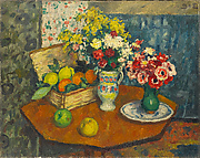 Basket of Fruit and Two Vases of Flowers
