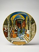 Large Dish (tagliere): Pope Leo X presenting a baton to Federigo II Gonzaga, marquis of Mantua, on his appointment as captain general of the Church in 1521.