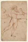 Bearded Nude Male Figure Running Toward the Right