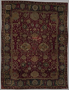 Carpet with vine scroll and palmette pattern