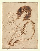 A Seated Young Woman Looking Over Her Shoulder
