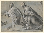 Man and Woman Striding Toward the Left