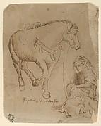 A Man Asleep Alongside a Dog and a Horse
