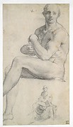 Two Studies of a Seated Male Nude